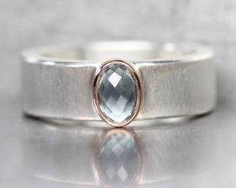 Checkerboard Rose-Cut Montana Sapphire Ring Steel Blue Wide Silver 14K Rose Gold American Gemstone Band September Birthstone - Stahl Royale