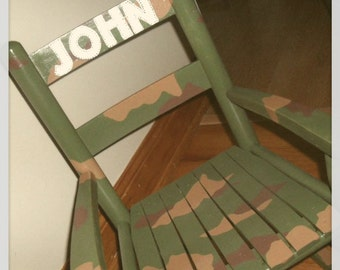 Child Rocking Chair- Kid Rocking Chair- Small Rocker- Camo- Personalized Hand Painted Rocking Chair