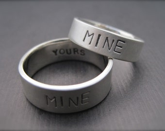 You're Mine, I'm Yours Rings - Sterling Silver Promise Ring/Wedding Band Set - 1.5mm