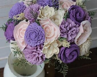 Purple Bouquet, Sola Bouquet, Bridal bouquet, wedding bouquet, bouquet, rustic wedding, alternative bouquet, shabby chic