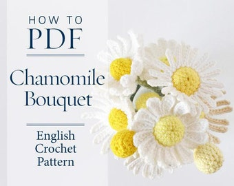 Chamomile Bouquet, DIY PDF English Crochet Pattern  - ready for immediate download - by CrochetObjet