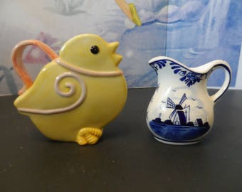 Mini Pitchers Creamers Yellow Duckling, D.A.I.C. Hand Painted Delft Blue Mini Pitcher Flowers, Windmill 1621
