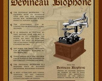 Vintage Cylinder Phonograph Attachment Deveneau Biophone for Edison Phonograph Canvas Print