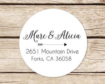 Custom Name Stickers, Return Address Labels Stickers, Wedding Address Labels, Round Address Stickers