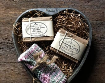 Soap Gift Set in Vintage Ovenex Starburst Heart Cake Pan - Mother's Day, Valentine's Day, Anniversary, Thinking of You, Housewarming, Love