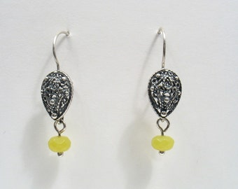 A Drop of Color - silver filigree earrings with jade