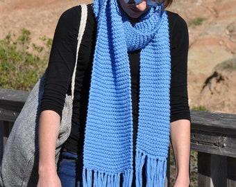 Knit scarf, Blue fringe scarf, Knitted scarves, Winter scarf, Boho scarf, Blue Womens scarf