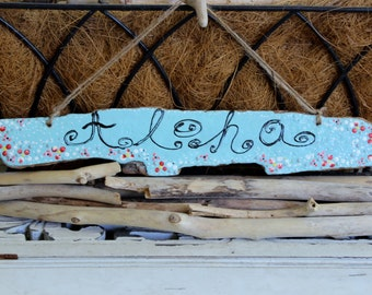 Aloha Hello Driftwood Sign ,Aloha Hawaiian Theme Sign , Home Decorating ,Surf Shop Island