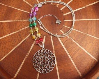 Rainbow necklace, heart necklace, silver necklace, beaded necklace