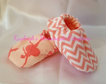 Flannel Reversible Baby Shoes Coral Ballerina & Chevron | Dance | Girl | Crib Shoes | Booties | Baby Slippers | Soft Sole | Ready to Ship