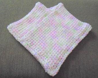 Hand Crocheted Baby Poncho Shawl Pink Green White Multi Tunisian Crochet