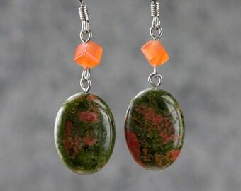 Gemstone Unakite dangling drop earrings bridesmaids gifts Free US Shipping handmade Anni Designs