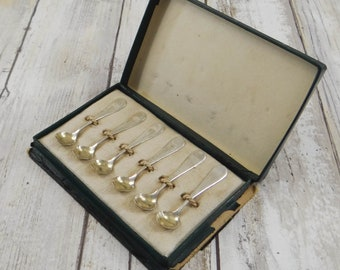 Antique Sterling Silver Salt Spoons with Gold Wash Bowls by Frank M. Whiting from the 1890s