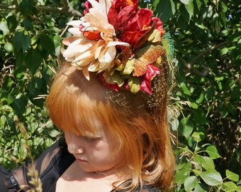 Autumn Rich Gold and Red Butterfly Girls Fascinator
