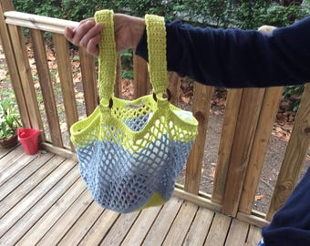 Yellow and blue net for the summer bag