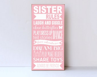 Sister Rules Wood Sign Sister Room Decor Playroom Wall Sign Sister Sign Wall Art for Sisters Nursery Decor Wall Sign Sister Rules & Sister wall decor | Etsy