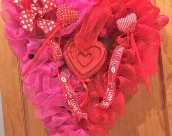 Pink and Red Valentine's Day Deco Mesh Heart
