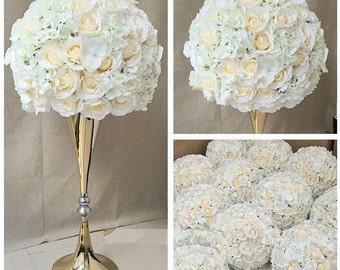 50cm diameter artificial flower centre piece on 70cm tall gold or silver flower vase