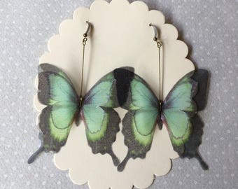 Handmade Silk Organza Fabric Teal and Black Swallowtail Butterfly Earrings