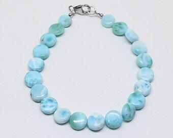 Natural Larimar Smooth Coin Shape Beaded Bracelet /Genuine Larimar Jewelry Bracelet, Blue Gemstone Beads Bracelet, 7x7 MM Beads Bracelet