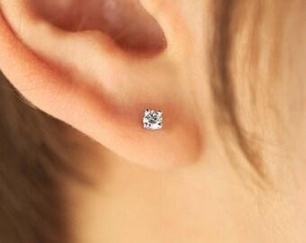 Diamond Earrings, Diamond Studs, Diamond Solitaire Earrings, 14K Gold Diamond Studs, Brilliant Cut Diamond Stud Earrings, Various Settings