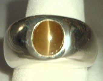 Golden Tone Apatite Cat's Eye Handmade Argentium 960 Silver Gents Ring size 9