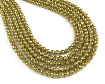4mm Faceted Gold Hematite Beads, Hematite Jewelry
