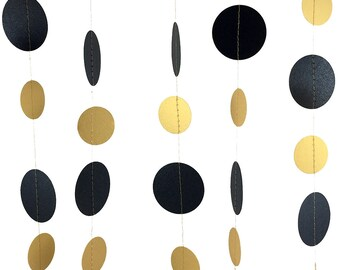 Metallic Black and Gold Garland - Gold and Black Garland, Circle Garland Party Decorations, Gold and Black Party Decor - GC007-2-18