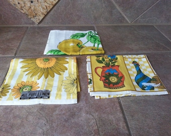 """Vintage Unused Parisian Prints All Pure Linen Tea Towels, Set of 3, Mint with Tag on 2, Nothing Dries Like Linen,  Each is 28"""" Long by 16"""""""