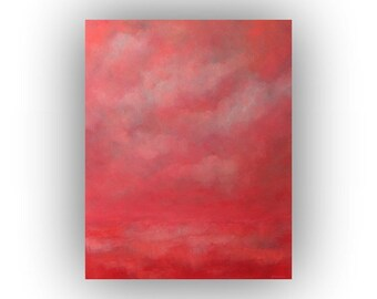 Oil Painting, Pink Abstract Landscape Art on Canvas, Original 24 x 30 Field Sky and Clouds Palette Knife Painting