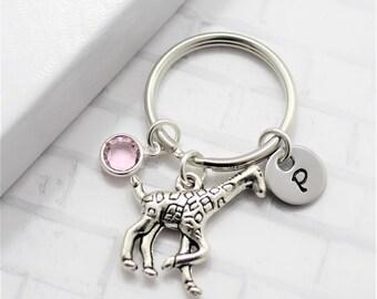 Giraffe Keychain - Giraffe Gift - Little Girls Keychain - Custom Birthstone - Custom Initial