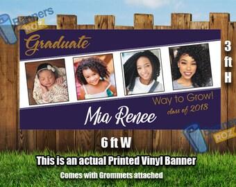 Graduation Banner 4 Photos- Personalized Graduation Banner, Graduation Banners, Custom banners, Personalized Graduation Banners