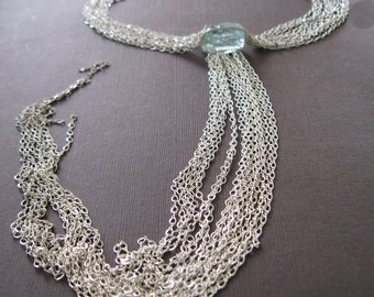 Multi Strand Aqua Quartz Necklace, Waterfall Sterling Statement Necklace Birthstone - Sample Sale