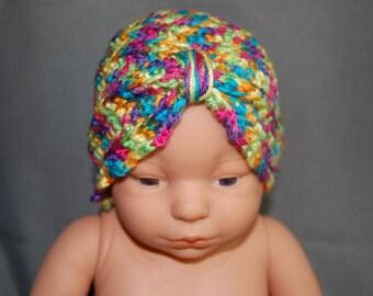 Crochet Baby Turban - Rainbow Bright - Ready to ship