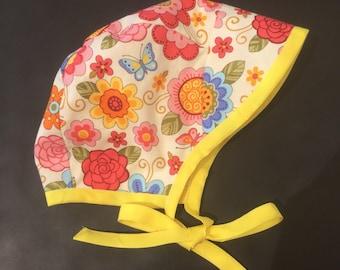Baby floral reversible bonnet