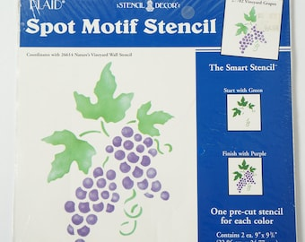 Vintage Plaid Stencil Decor, Spot Motif Stencil 27702 Vineyard Grapes 9""
