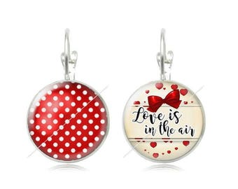 Earrings cabochon love is the air love 18mm