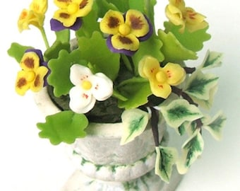 Miniature Polymer Clay Flowers Brigth Yellow Pansy in Roman Urn