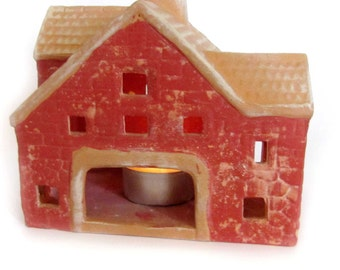 Home Decor /Ready to Ship / Ceramic Mountain  House Tea Light Holder