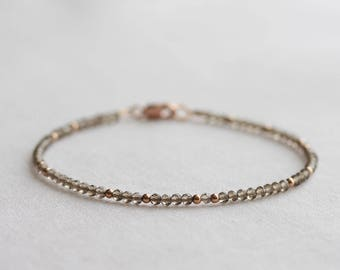 Smoky quartz bracelet - delicate layering bracelet with tiny smoky quartz & rose gold beads -  rose gold gemstone bracelet - gift for her