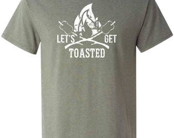 Let's Get Toasted T-shirt Marshmallow Tshirt Camping Bonfire Fall Tee