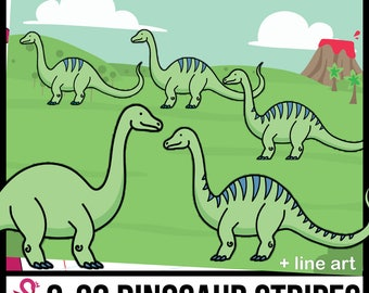 0-20 Brontosaurus Dinosaur Stripes ClipArt