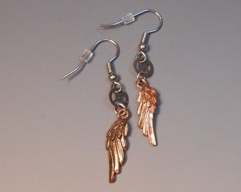 Angel Wings Steampunk Earrings Shepherd Hook Recycled Pocket Watch Gear
