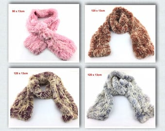 Warm  real beaver rabbit hair knitted scarf neck warmer wrap collar neck shawl