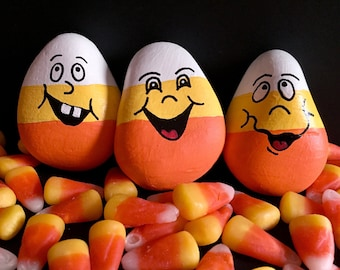 Halloween Painted Rocks, Candy Corn, Set of 3, Silly Faces, Painted Stones