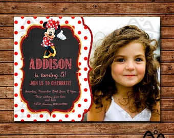 Minnie Mouse Birthday Invitation, Minnie Mouse Birthday, Disney Invitation, Minnie Birthday Invitation, Minnie Mouse