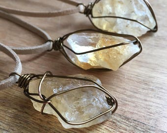 Raw Citrine Necklace - Citrine Necklace - Raw Citrine - Citrine Jewelry - Raw Stone Necklace - Wire Wrapped Necklace - Citrine