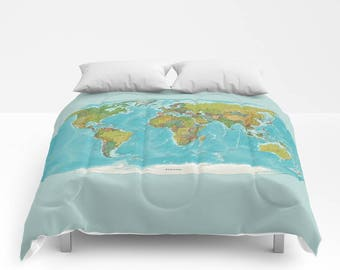 Map duvet cover etsy duvet cover or comforter topographic world map boho hippie sham gift gumiabroncs Image collections