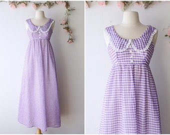 Pastel Kawaii Vintage Maxi Dress - Lilac and White Gingham Dress with Peter Pan Collar - Cute 1970's Pastel Maxi - Size Extra Small