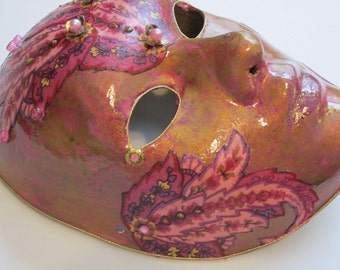 Paper Mache Mask Gold with Pink Paisley Venetian Style